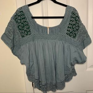 Free People Lace Square Neckline Blouse